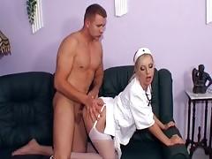 Blonde Nurse Fucking In White Stockings And Heels