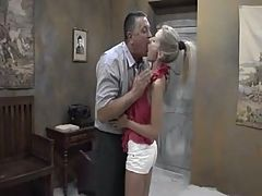 Beautiful Skinny Teen Girl W Perky Tits Sucks Fucks Old Man