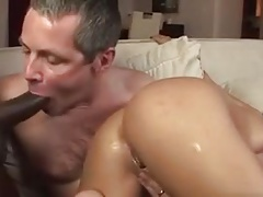 Black Cock From Wife's Ass To Husband's Mouth