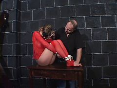 Big Tits Hottie In Red Fishnets Bound For A Bdsm Session