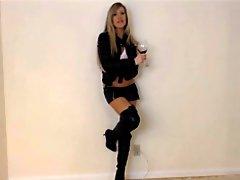 Slutty Blonde In Leather Sucks & Toys