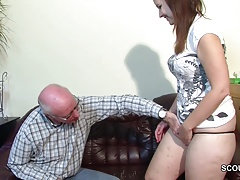 Old Grandfather Seduce Not Grand Daughter To First Fuck