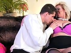 Awesome Blonde Huge Boobs Milf Fucked By Young Guy