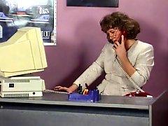 Guy Drills Old Hag Secretary In Glasses In Office