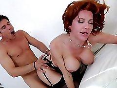 Redhead In Black Lingerie