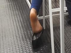 Candid Blonde Sexy Teen Feet Play In Classroom