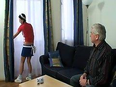 Grandpa Creams His Sexy Young Housemaid !
