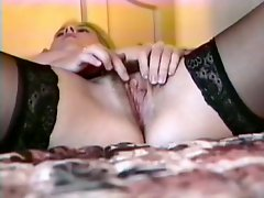 Blonde Youngster In Lingerie Toys Her Pussy H Her Red Dildo
