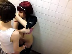 Voyeur Catches Emo Teens Fooling Around In Pub Bathroom