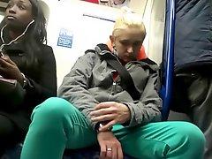 Girls Watch Guy's Bulge On Train