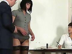 Shy Brunette Secretary Interviewed By Hr Staff
