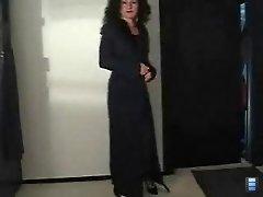 Nylon Mom Strips For Old Guy Then Jerks Him Off