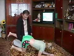 Not Father Shows Her A Better Way To Exercise !