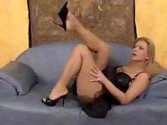 Hot Blonde Peeing In Heels