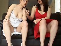Two Sexy Girls Open Their Legs In Front Of The Camera