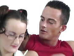 Giving His Plain Jane Sister Her First Taste Of Cock !