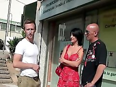 Busty Brunette Fuck With Two Men