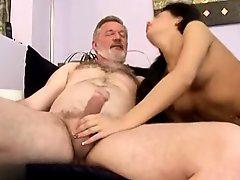 Sexy Brunette Fucks A Old Man
