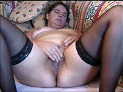 Amateur Mature Masturbating On Couch