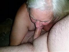 Granny Sucks Old Man's Cock !