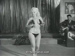 Sexy Blonde's Erotic Dance For Audience 1950s Vintage