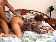 Hairy Granny Catches Grandson Jacking