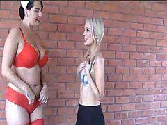Busty nurse seducing the innocent schoolgirl