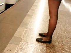 Black Miniskirt Flats And Sheer Black Pantyhose