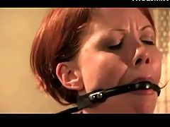 Redhead Is Chained Whipped And Clamp