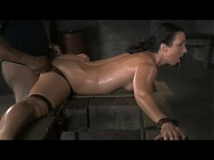 Flexible Slut Bound In Splits Spitroasted And Bbc Creampied