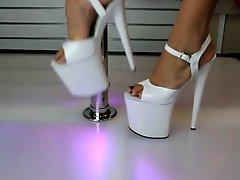 White G String Bikini Flamingo 8 Inch High Heels